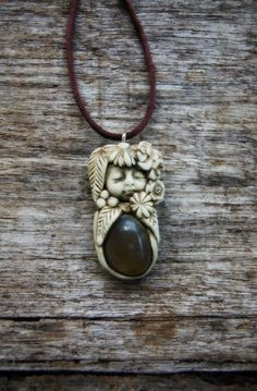 Gemstone Necklace Healing Gemstone Jewelry, Crystal, Hand Sculpted Clay.