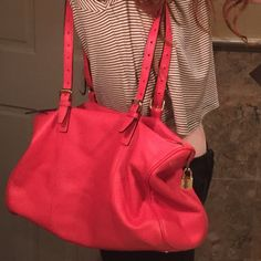 Red leather handbag + wallet Gorgeous like-new designer handbag and matching wallet with gold accents and black interior Halogen Bags