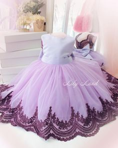 Birthday dress for babies lavender & dark purple lace dress