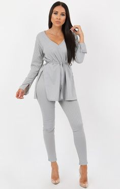 86a91f36be Grey Ribbed belted Loungewear Set -Asia