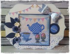 By Tracy Freeman, Crafter's Companion Halcyon Days Range Shaped card kit  Topper, sentiment, rolled roses & bow all from CD ROM Die'sire leafs 1 die