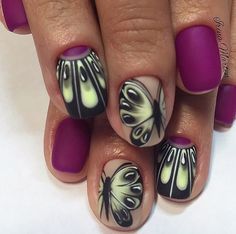 Bright summer nails, Butterfly nail art, Butterfly nails, Half-moon nails ideas, Manicure by summer dress, Matte nails, Nails with butterfly wings, Original nails