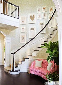 """Kemble Interiors. Carleton V """"Plantation"""" wallpaper, BM Mayonnaise trim. Sisal stair runner"""
