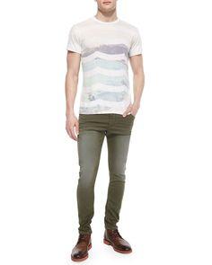 Krooley Faded Jogger Denim Jeans, Olive