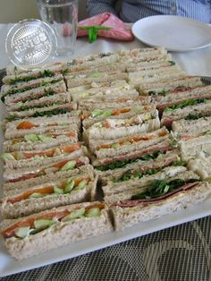 An Assortment of Afternoon Tea Sandwhiches. What do you think of these sandwiches? High Tea Sandwiches, Tee Sandwiches, Finger Sandwiches, Tea Recipes, Cooking Recipes, Tea Sandwich Recipes, Sandwich Platter, Sandwich Fillings, Christmas Tea Party