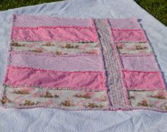Pink Chevron Teddies Baby Rag Quilt 100% by ccquiltsandmore