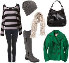Outfit for cold weather 2: Striped sweater, boots, skinny jeans, bright coat, scarf, beanie