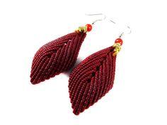 Boho  Earrings Thai Leaves Red Micro Macrame by ValaddaJewelry