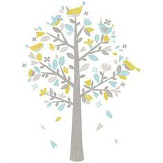 Sticker enfant XL L'arbre aux moineaux vert et bleu Paper Owls, Tree Illustration, Decoration, Bunnies, Kids Room, Lily, Watercolor, Design, Trees