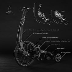 Halfbike Shop - The compact and light standing bike, anywhere with you! Velo Beach Cruiser, Bike Sketch, Wood Bike, Mini Bike, Bicycle, Skate, Shopping, Motorcycle, Ideas