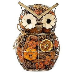 Create a festive Fall ambiance in your home with this Harvest Spice Wire Owl. This wired owl is filled with rich potpourri which will fill any room with a delightful fragrance.
