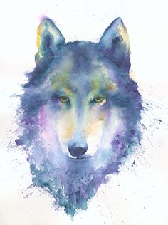 Blue Wolf Fine Art Print/Wolf Spirit Animal/Wolf Watercolor/Wolf Painting/Wild Wolf Art/Wolf lover/Wolf Power Animal/SFEtsy/Timber Wolf Art by PetitPapillonArt on Etsy