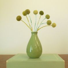 Craspedia billy balls billy buttons WITH green by berryisland, $37.00