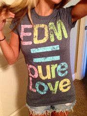 No better way to wave your flag of EDM love than to wear it on a badass shirt!!! EDMLove woman's crew neck.      ⭐www.ElectroThreads.com⭐