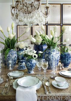 This table with blue and white, crystal, fresh tulips...stunning