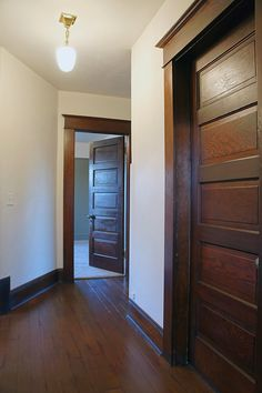 Chic Design Investments:  Craftsman foursquare upper hall updated.   GREAT DETAILS FOR OUR HOUSE
