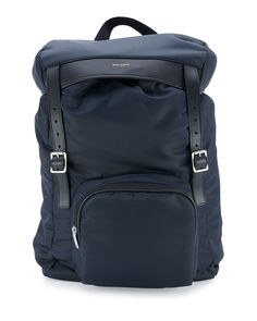 Yves Saint Laurent Nylon Hunting Backpack w/Leather Trim, Blue