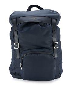 Yves Saint Laurent Nylon Hunting Backpack w/Leather Trim, Blue