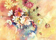 c Watercolor Art Kids, Watercolor Disney, Floral Watercolor, Watercolor Paintings, Floral Paintings, Watercolours, Disney Lessons, Cosmos, Flower Art
