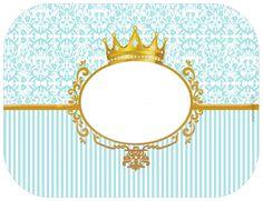 Corona Dorada en Fondo Celeste: Etiquetas para Candy Bar para Imprimir Gratis. Prince Birthday, Prince Party, 1st Boy Birthday, Candy Labels, Glass Centerpieces, Baby Invitations, Baby Album, The Little Prince, Binder Covers