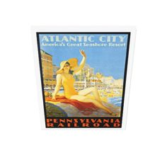 "Pennsylvania Railroad to Atlantic City Stretched Large Canvas Prints- 24""X36"" - $252.95 - #stanrail - Take The Pennsylvania Railroad to Atlantic City, N.J. A colorful, Vintage, PRR Travel Poster Print from 1931.Zazzle's gloss canvas is made from an additive-free cotton-poly blend.  A tight weave ideal for any photography or fine art, our instant-dry gloss canvas produces prints that are fade-resistant for 75 years or more. #Vintage  #PennsylvaniaRailroad      #AtlanticCity  #stanrails_store"