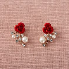 Red Rose Rhinestone Stationed Stud Earrings With Pearl