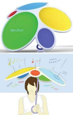 rain drum umbrella!...what a way to brighten up rainy days!!