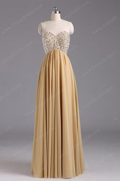 A-line Sweetheart Sleeveless Floor-length Chiffon Prom Dress With Paillette Beading$140.00