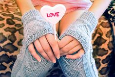 """Ravelry: """"Heart Warmers"""" Heart Cable Knit Legwarmers and Mini Mits in Girls and Adult Sizes pattern by Lauren Riker Easy Knitting Projects, Diy Sewing Projects, Crochet Projects, Baby Sewing Tutorials, Knit In The Round, Knitting Socks, Free Sewing, Cable Knit, Mini"""