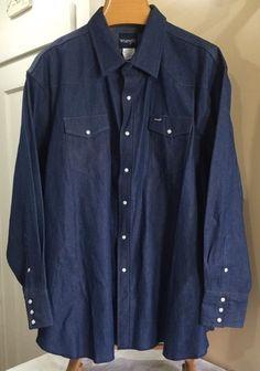 Wrangler Denim Shirt Blue Western Cowboy Vintage 4XL Pearl Snap Buttons | eBay
