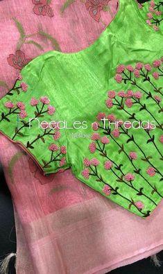 20 New Blouse Designs Patterns 2018 - ArtsyCraftsyDad Simple Blouse Designs, Stylish Blouse Design, Fancy Blouse Designs, Bridal Blouse Designs, Blouse Neck Designs, Hand Embroidery Dress, Embroidery Neck Designs, Embroidery Saree, Creative Embroidery