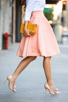 Adorable a-line skirt and cute shoes with bows