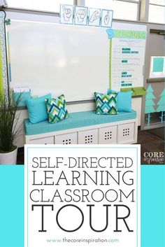 This is a perfect self-directed learning environment. Students can access all their learning supplies independently in this super organized classroom. Love the bright white colors, the space for flexible seating, and the way this room setup is so student-