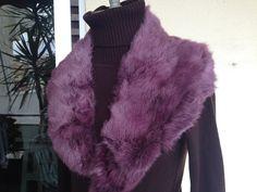 Vintage 60s purple real fur collar/etole by Myfamilytreasure on Etsy