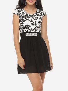 #AdoreWe #FashionMia Skater Dresses - FashionMia Paisley Beading Charming Round Neck Skater-dress - AdoreWe.com