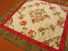 Quilted Table Topper Roses Centerpiece by PatchworkMountain