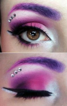 Effin LOVE this … too bad I'm not even around to make that look on myse … – Halloween Make Up Ideas Looks Halloween, Halloween Face Makeup, Halloween Eyeshadow, Creepy Makeup, Alien Makeup, Halloween Fairy, Purple Halloween, Unicorn Halloween, Unicorn Costume