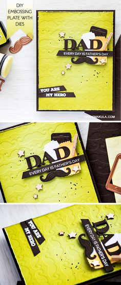 Create a unique Father's Day card using Spellbinders dies. Learn how to make a DIY embossing plate with the help of dies, cardstock and adhesive.   I love using dies to create my own unique embossing plates. Its a bit time consuming, but so worth it in the end! After die cutting a bunch of mustaches out of thick cardstock....  Video and details here: http://www.yanasmakula.com/?p=53918