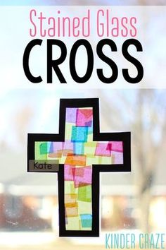 stained glass cross tutorial for Catholic and christian students- perfect for Lent and Easter