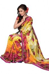 Yellow Color Gorgeous Designer Saree With Print Work