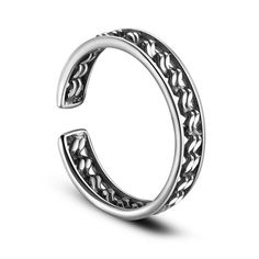 SWEETIEE&reg Spiral 925 Sterling Silver Cuff Finger Rings, Antique SilverPSize: about 18mm inner diameter(Adjustable), 4mm wide; pPacking size: 53x53x37mm.