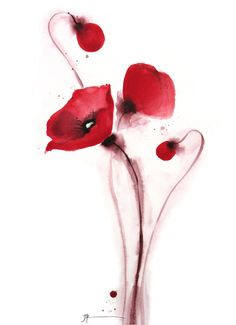 Original Poppy Painting . Large Painting 30 x by JoannePooreART, $690.00