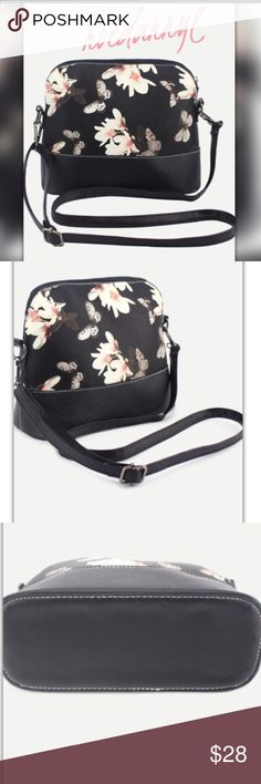 PRICE FIRM HP🎉 Butterfly and Floral Crossbody Bag Adjustable shoulder bag Medium Sized Bags Shoulder Bags