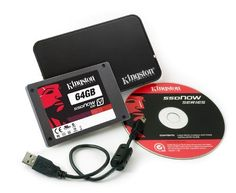 Kingston SSDNow V100 64GB SATA II 3GB/s 2.5 Inch Notebook Bundle SV100S2N/64GZ by Kingston. $89.99. From the Manufacturer                Increase performance and productivity while extending the life of your computer with the Kingston SSDNow V100 64 GB Drive. The solid-state drive is built with no moving parts, making it far less susceptible to damage from shock and vibration than traditional hard drives. Utilizing NAND flash technology and a SATA interface, th...
