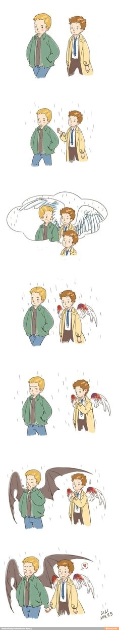 (( so sorry I don't know the artist)) so cute!!! Not really a Destiel person but this is adorable ^_^