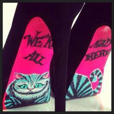 high heels alice in wonderland shoes pink and black heels