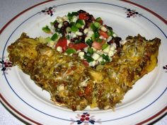 Health New Mexico Green Chile Chicken Enchiladas — One of my favorite recipes. Uses chicken broth instead of oil for tortillas.