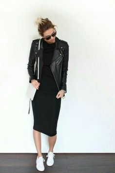 Black Dress + Black Leather Jackt + White Sneakers