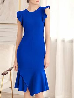 Buy Summer Dresses Elegant Dresses For Women from 788 at Stylewe. Online Shopping Stylewe Summer Dresses Sundress Date Sheath Crew Neck Ruffled Frill Sleeve Elegant Dresses, The Best Party & Evening Elegant Dresses. Discover unique designers fashion at st Elegant Midi Dresses, Elegant Dresses For Women, African Fashion Dresses, Fashion Outfits, Fashion 2018, Casual Outfits, Royal Blue Dresses, Outfit Trends, Cute Summer Dresses