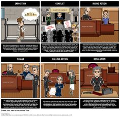 A common use for Storyboard That is to help students create a plot diagram of the events from a story. Not only is this a great way to teach the parts of the plot, but it reinforces major events and help students develop greater understanding of literary structures. Take a look at our full Inherit the Wind lesson plans here: https://www.pinterest.com/storyboardthat/inherit-the-wind/